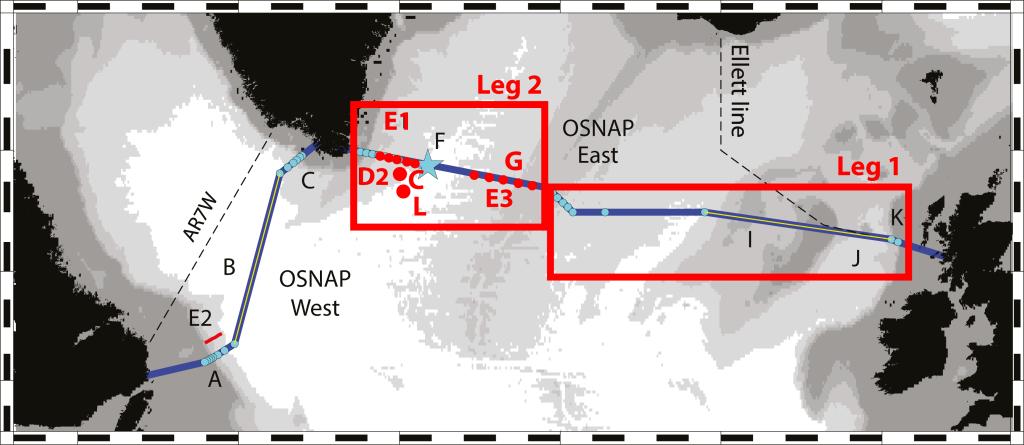 : Leg 2 will service 12 moorings: G: the Dutch moorings, D2: British moorings, C: German mooring,  L: Dutch profiling mooring, and E1 and E3: RAFOS float deployments