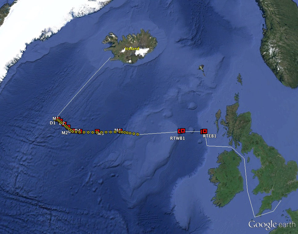 The planned cruise track of PE399. Red squares mark mooring locations to be recovered and redeployed; yellow dots represent CTD stations with lowered ADCP.  The cruise departs from Southampton UK and ends in Reykjavik, Iceland.