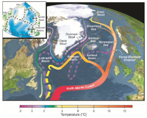 Figure 1. A schematic of the Atlantic Meridional Overturning Circulation (Curry and Mauritzen, 2005).