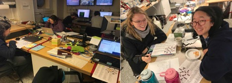 Two photos of people sitting at desks in the main lab and working to complete crossword puzzles.