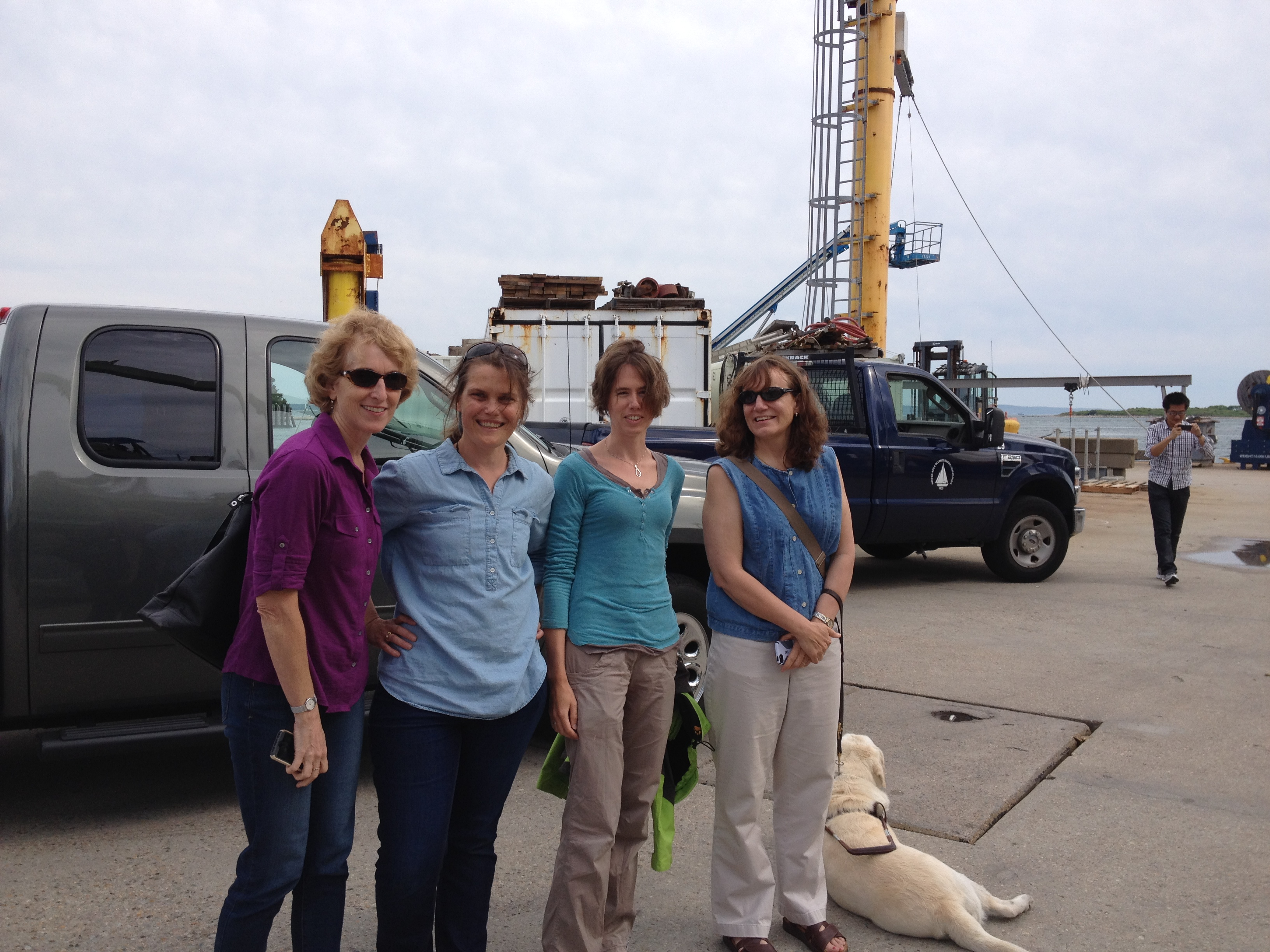 Susan Lozier, Heather Furey, Femke de Jong and Amy Bower gather on the WHOI dock on June 19th to see the RV Knorr off on its first OSNAP cruise.